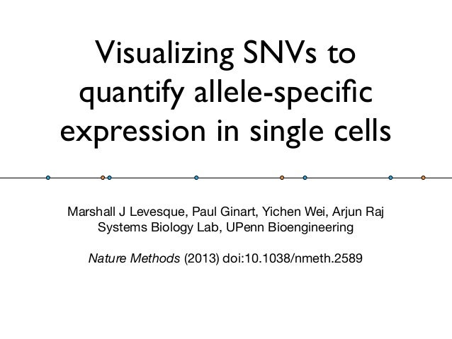 Visualizing SNVs to quantify allele-specific expression in single cells Marshall J Levesque, Paul Ginart, Yichen Wei, Arjun...