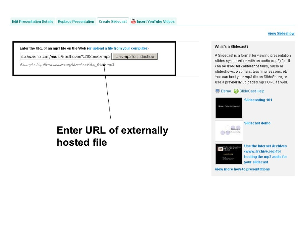 Enter URL of externally hosted
