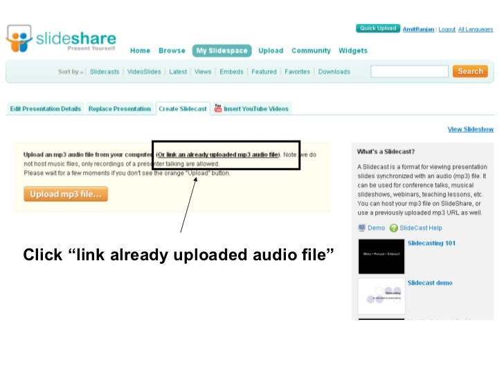 """Click """"link already uploaded audio file"""""""
