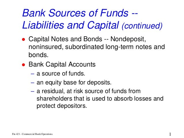 Bank Sources of Funds --        Liabilities and Capital (continued)             Capital Notes and Bonds -- Nondeposit,   ...