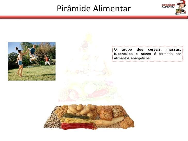 Pirâmide Alimentar O  grupo dos cereais, massas, tubérculos e raízes  é formado por alimentos energéticos.