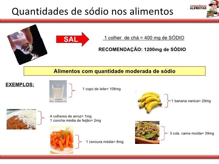 Quantidades de sódio nos alimentos 1 colher  de chá = 400 mg de SÓDIO RECOMENDAÇÃO: 1200mg de SÓDIO  Alimentos com quantid...