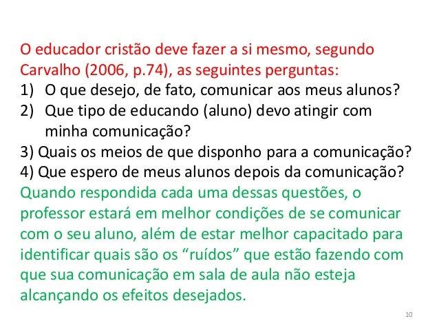 O educador cristão deve fazer a si mesmo, segundo Carvalho (2006, p.74), as seguintes perguntas: 1) O que desejo, de fato,...