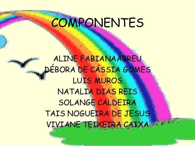 COMPONENTES ALINE FABIANAABREU DÉBORA DE CÁSSIA GOMES LUIS MUROS NATALIA DIAS REIS SOLANGE CALDEIRA TAIS NOGUEIRA DE JESUS...