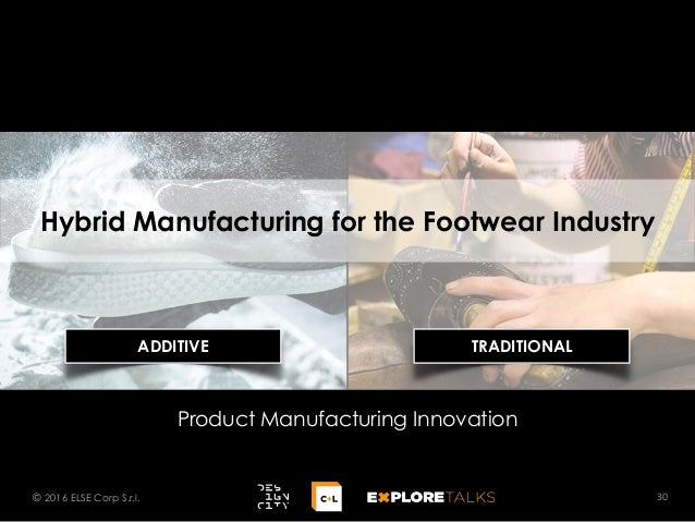 Hybrid Manufacturing for the Footwear Industry 30© 2016 ELSE Corp S.r.l. Product Manufacturing Innovation ADDITIVE TRADITI...