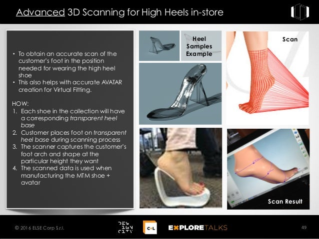 Advanced 3D Scanning for High Heels in-store 49© 2016 ELSE Corp S.r.l. • To obtain an accurate scan of the customer's foot...
