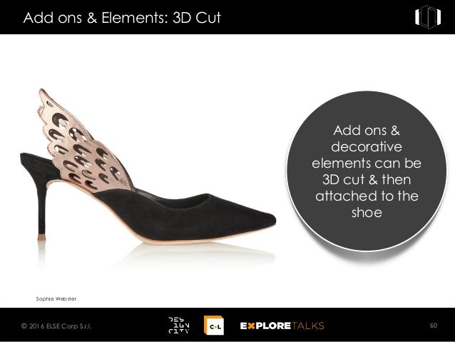 Add ons & Elements: 3D Cut 60© 2016 ELSE Corp S.r.l. Sophie Webster Add ons & decorative elements can be 3D cut & then att...