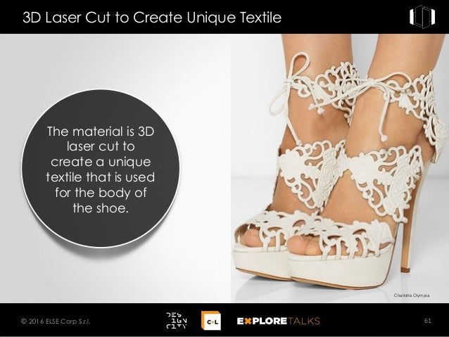 Charlotte Olympia 3D Laser Cut to Create Unique Textile 61© 2016 ELSE Corp S.r.l. The material is 3D laser cut to create a...