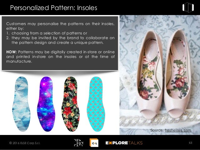 Customers may personalise the patterns on their insoles, either by: 1. choosing from a selection of patterns or 2. they ma...