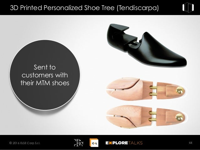 Sent to customers with their MTM shoes 3D Printed Personalized Shoe Tree (Tendiscarpa) 68© 2016 ELSE Corp S.r.l.