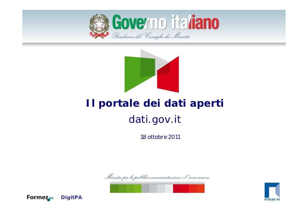 Click to edit Master title style          Il portale dei dati aperti                  dati.gov.it                    18 ot...