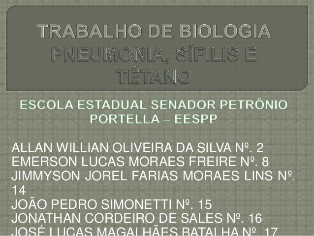 ALLAN WILLIAN OLIVEIRA DA SILVA Nº. 2EMERSON LUCAS MORAES FREIRE Nº. 8JIMMYSON JOREL FARIAS MORAES LINS Nº.14JOÃO PEDRO SI...