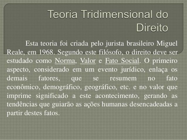 Esta teoria foi criada pelo jurista brasileiro Miguel Reale, em 1968. Segundo este filósofo, o direito deve ser estudado c...
