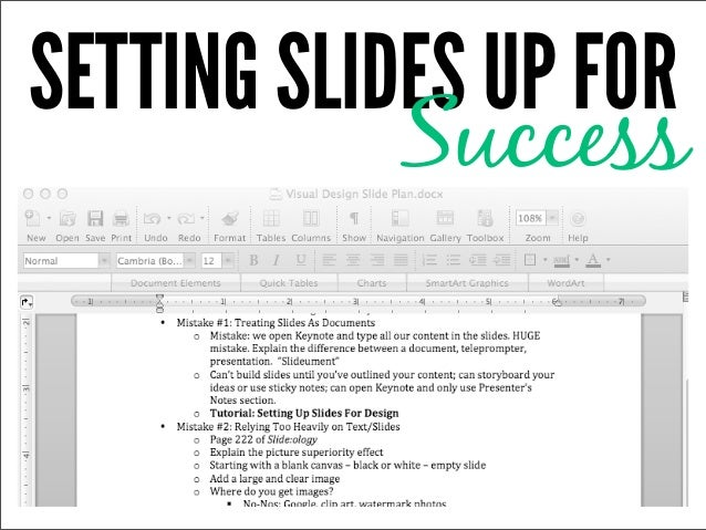 SETTING SLIDES UP FOR            Success