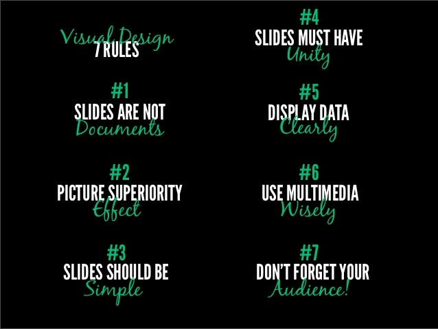 #4Visual Design         SLIDES MUST HAVE    7 RULES                Unity        #1                  #5  SLIDES ARE NOT    ...