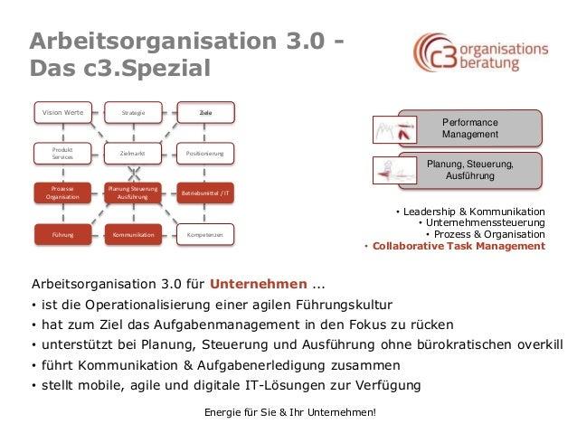 Energie für Sie & Ihr Unternehmen! Arbeitsorganisation 3.0 - Das c3.Spezial Performance Management Planung, Steuerung, Aus...