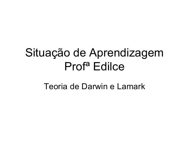 Situação de Aprendizagem Profª Edilce Teoria de Darwin e Lamark