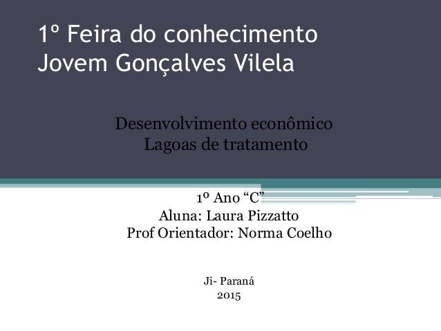"""1º Feira do conhecimento Jovem Gonçalves Vilela Desenvolvimento econômico Lagoas de tratamento 1º Ano """"C"""" Aluna: Laura Piz..."""