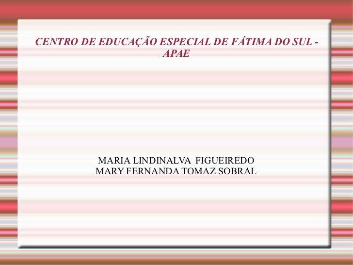CENTRO DE EDUCAÇÃO ESPECIAL DE FÁTIMA DO SUL - APAE MARIA LINDINALVA  FIGUEIREDO MARY FERNANDA TOMAZ SOBRAL