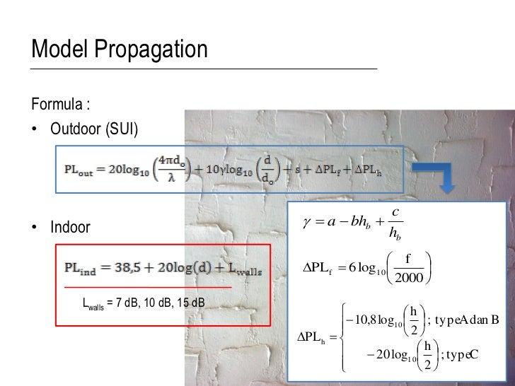Model PropagationFormula :• Outdoor (SUI)                                                      c• Indoor                  ...