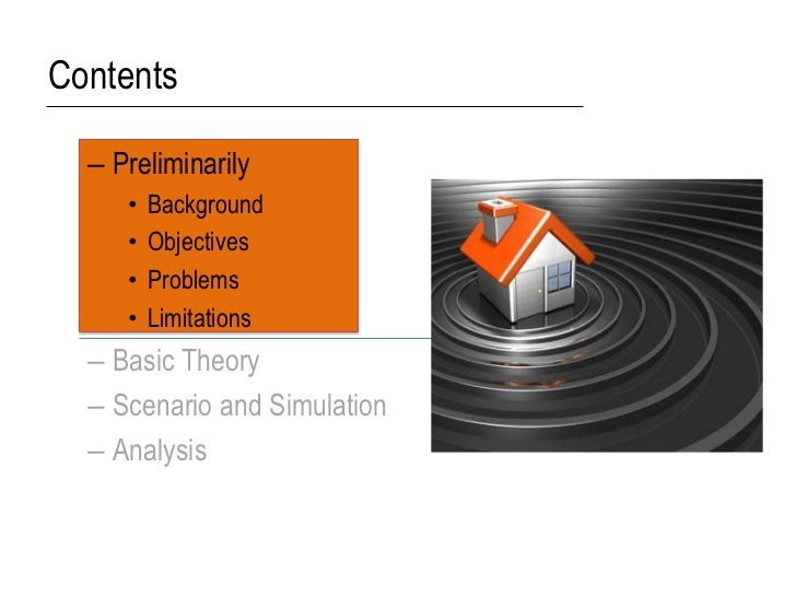 Contents  – Preliminarily     •   Background     •   Objectives     •   Problems     •   Limitations  – Basic Theory  – Sc...