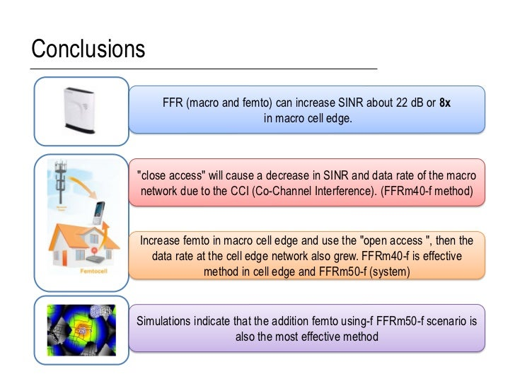 Conclusions               FFR (macro and femto) can increase SINR about 22 dB or 8x                                  in ma...