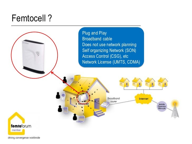Femtocell ?              Plug and Play              Broadband cable              Does not use network planning            ...