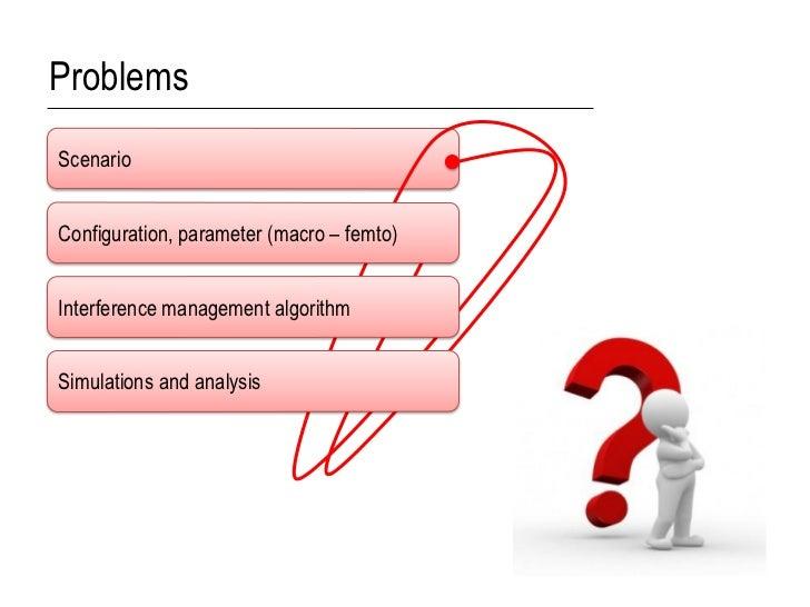 ProblemsScenarioConfiguration, parameter (macro – femto)Interference management algorithmSimulations and analysis