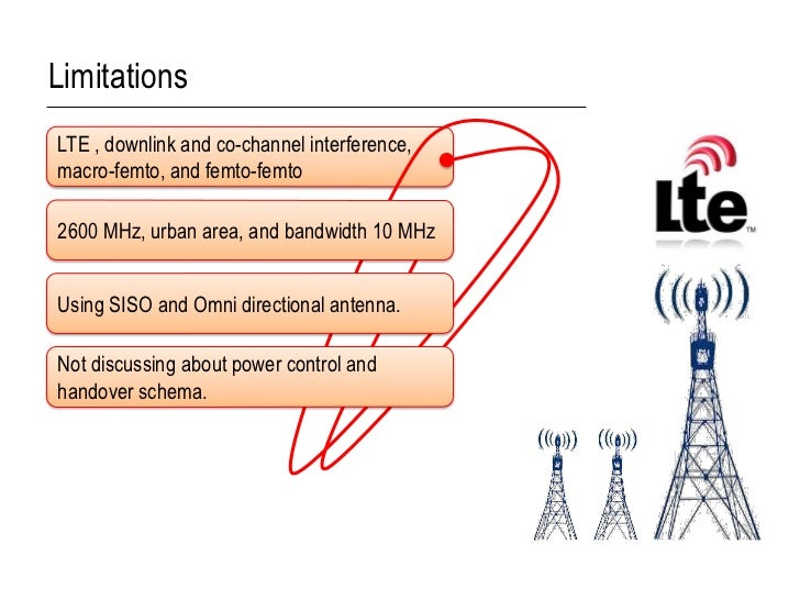 LimitationsLTE , downlink and co-channel interference,macro-femto, and femto-femto2600 MHz, urban area, and bandwidth 10 M...