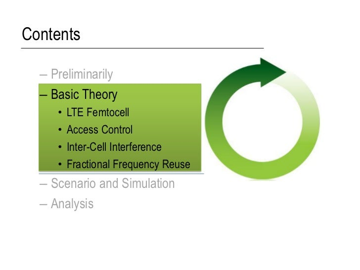 Contents  – Preliminarily  – Basic Theory     •   LTE Femtocell     •   Access Control     •   Inter-Cell Interference    ...
