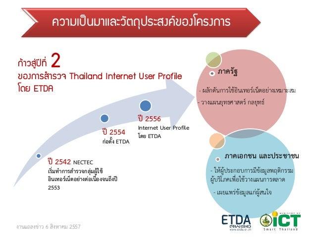 สรุปผลการสำรวจพฤติกรรมผู้ใช้อินเทอร์เน็ตในประเทศไทย ปี 2557 Slide 2