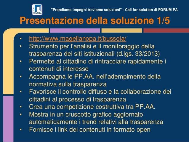 """""""Prendiamo impegni troviamo soluzioni"""" - Call for solution di FORUM PA • http://www.magellanopa.it/bussola/ • Strumento pe..."""