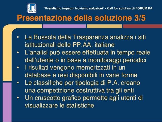 """""""Prendiamo impegni troviamo soluzioni"""" - Call for solution di FORUM PA • La Bussola della Trasparenza analizza i siti isti..."""