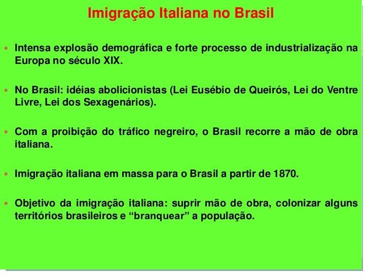 Imigração Italiana no Brasil Intensa explosão demográfica e forte processo de industrialização na  Europa no século XIX....