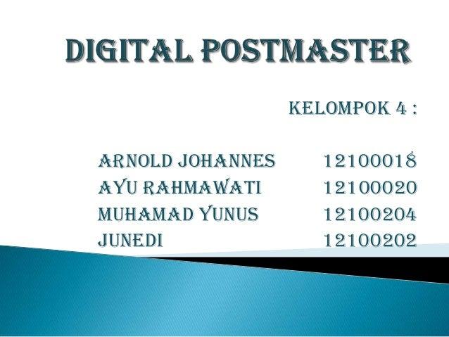 Kelompok 4 :Arnold JohaNnes      12100018Ayu Rahmawati        12100020Muhamad Yunus        12100204Junedi               12...