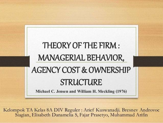 theory of the firm managerial behavior