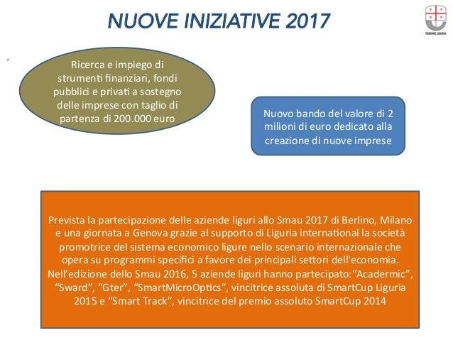 NUOVE INIZIATIVE 2017  . Ricercaeimpiegodi strumenDfinanziari,fondi pubblicieprivaDasostegno delleimpresecon...
