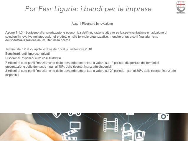 Por Fesr Liguria: i bandi per le imprese  Asse 1 Ricerca e Innovazione Azione 1.1.3 - Sostegno alla valorizzazione economi...