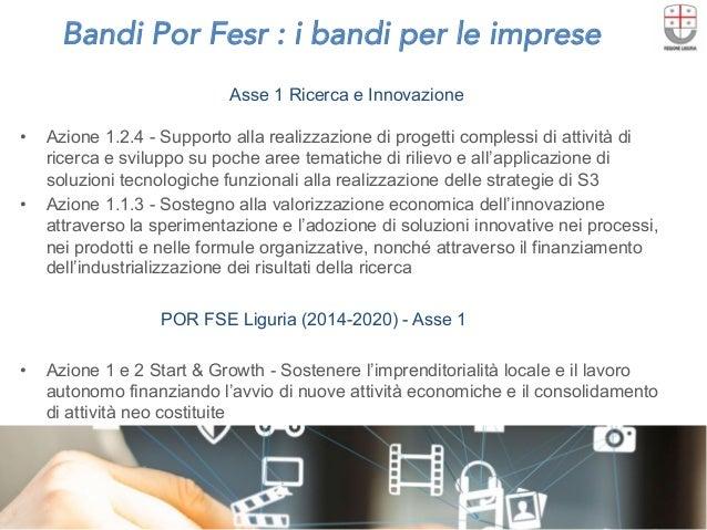 Bandi Por Fesr : i bandi per le imprese  Asse 1 Ricerca e Innovazione • Azione 1.2.4 - Supporto alla realizzazione di pro...