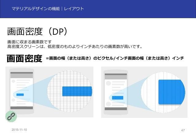 2015-11-10 47 マテリアルデザインの機能|レイアウト 画⾯密度(DP) 画⾯に収まる画素数です ⾼密度スクリーンは、低密度のものよりインチあたりの画素数が⾼いです。 画⾯密度 =画⾯の幅(または⾼さ)のピクセル/インチ画⾯の幅(また...