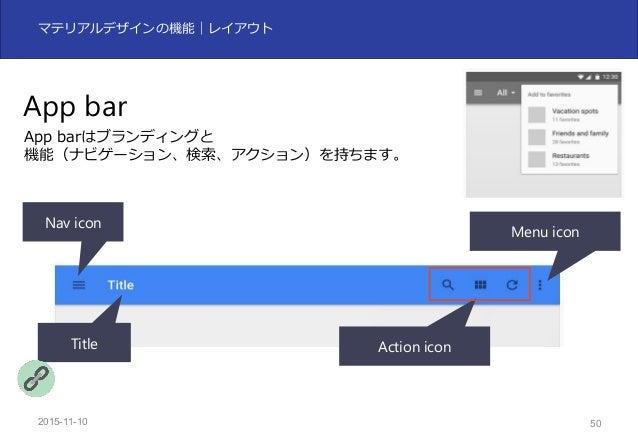 2015-11-10 50 マテリアルデザインの機能|レイアウト App bar App barはブランディングと 機能(ナビゲーション、検索、アクション)を持ちます。 Nav icon Title Action icon Menu icon