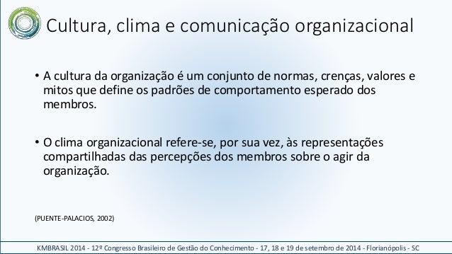 Cultura, clima e comunicação organizacional  • A cultura da organização é um conjunto de normas, crenças, valores e  mitos...
