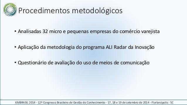 Procedimentos metodológicos  • Analisadas 32 micro e pequenas empresas do comércio varejista  • Aplicação da metodologia d...