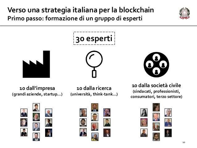 Verso una strategia italiana per la blockchain Primo passo: formazione di un gruppo di esperti 30 esperti 10 dall'impresa ...