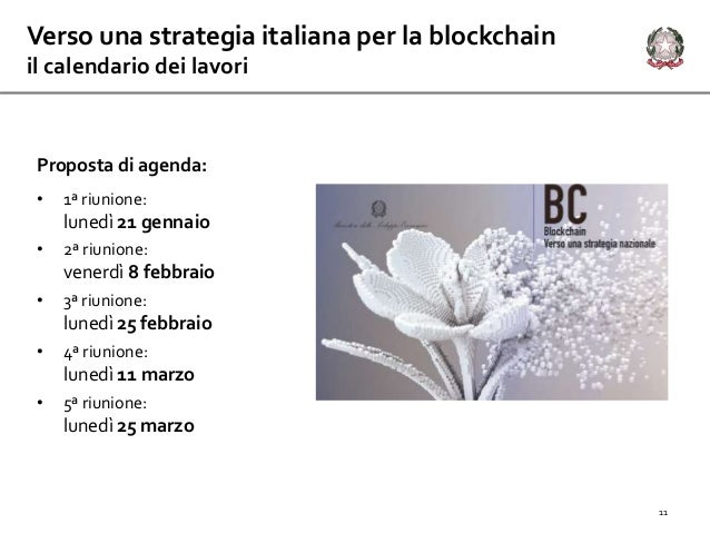 Verso una strategia italiana per la blockchain il calendario dei lavori 11 Proposta di agenda: • 1ª riunione: lunedì 21 ge...