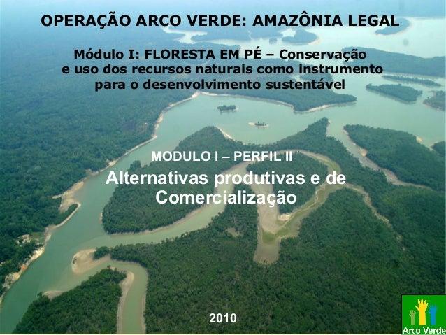 Alternativas produtivas e de Comercialização MODULO I – PERFIL II OPERAÇÃO ARCO VERDE: AMAZÔNIA LEGAL Módulo I: FLORESTA E...