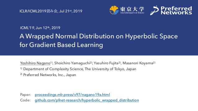 A Wrapped Normal Distribution on Hyperbolic Space for Gradient Based Learning ICML'19, Jun 12th, 2019 Yoshihiro Nagano1), ...
