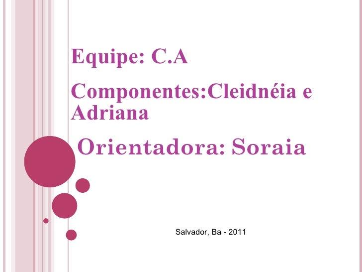 Equipe: C.A Componentes:Cleidnéia e Adriana Orientadora: Soraia Salvador, Ba - 2011