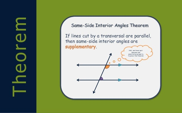 Slide Notes On Angles Formed By Parallel Lines And A Transversal