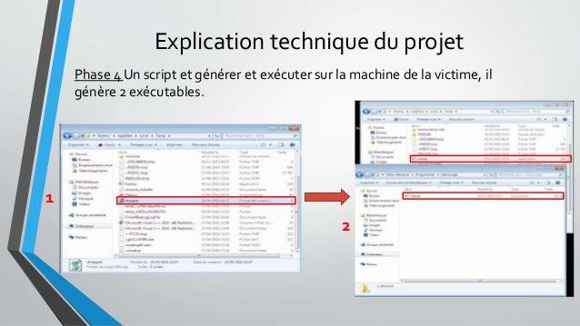Explication technique du projet Phase 4 Un script et générer et exécuter sur la machine de la victime, il génère 2 exécuta...